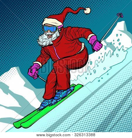 Skier evening rides down the mountain. Santa Claus character merry Christmas and happy new year. Pop art retro vector illustration vintage kitsch drawing 50s 60s poster