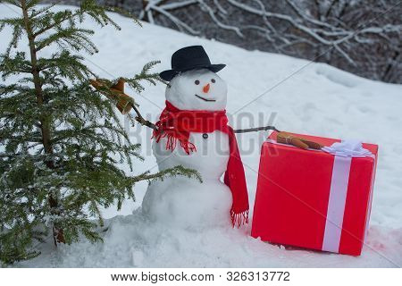 Snowman Woodcutter With Axe In The Winter Forest. Snowman Is Going To Cut A Christmas Tree. Snowman