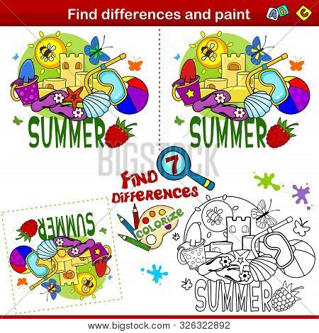 Set For Children And Schoolchildren. Find The Difference In The Picture And Color It. Summer Picture