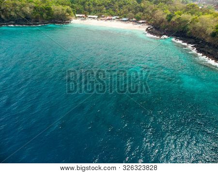 Aerial View Of The Stunning Bias Tugel Tranquil Beach Near Padang Bai In Northeast Bali In Indonesia