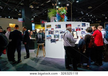 COLOGNE, GERMANY - CIRCA SEPTEMBER, 2018: Canon space at the Photokina Exhibition. Photokina is a leading trade fair for the worldwide photo industry.
