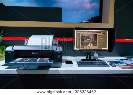 COLOGNE, GERMANY - CIRCA SEPTEMBER, 2018: inkjet printer on display at Canon stand at the Photokina Exhibition.