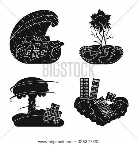 Vector Illustration Of Calamity And Crash Icon. Collection Of Calamity And Disaster Stock Vector Ill