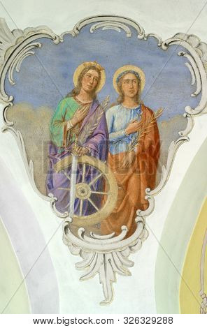 BEDEKOVCINA, CROATIA - JULY 25, 2011: Saints Catherine and Apollonia, fresco on the ceiling of the church of Saint Barbara in the Bedekovcina, Croatia
