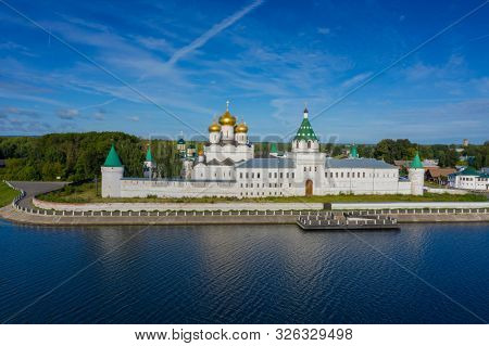 Aerial view of famous Ipatievsky (Hypatian) Monastery in ancient touristic town Kostroma, Russia.