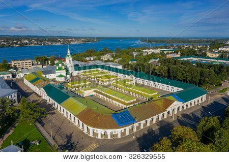 Aerial view of ancient Gostiny Dvor in old Russian city of Kostroma on bank of Volga River, Russia