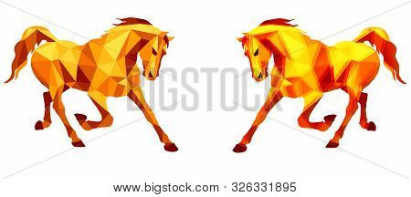 Prancing Horse, Vector-isolated Image Of Two Running Horses On White Background In The Style Of Low