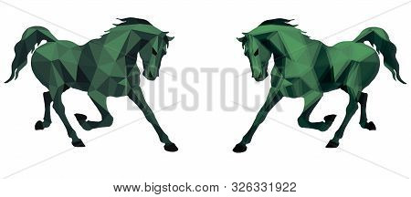 Prancing Horse, Vector-isolated Image On A White Background In The Style Of Low Poly