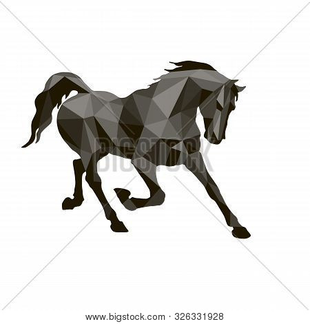 Prancing Black Horse, Vector-isolated Image On A White Background In The Style Of Low Poly