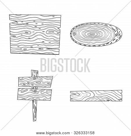 Vector Design Of Hardwood And Material Sign. Set Of Hardwood And Wood Stock Symbol For Web.