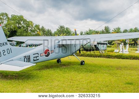 Daejeon, South Korea; October 3, 2019: Starboard Side Of Cessna 140 Military Flight Trainer On Displ