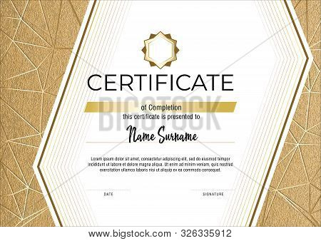 Certificate With Metallic Gold Lines On Mate Gold Background. Modern Fashion Horisontal Certificate