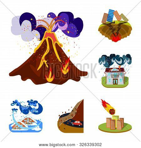 Vector Illustration Of Cataclysm And Disaster Symbol. Set Of Cataclysm And Apocalypse Stock Symbol F