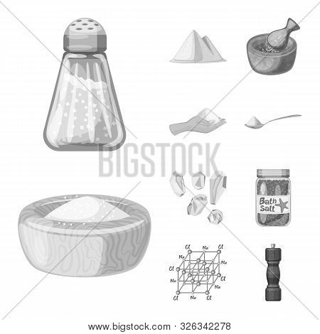 Vector Illustration Of Salt And Food Logo. Collection Of Salt And Mineral Stock Symbol For Web.