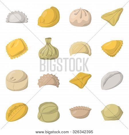 Vector Design Of Dumplings And Food Symbol. Collection Of Dumplings And Stuffed Stock Symbol For Web