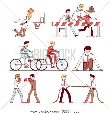 Business Competition Set. Hurdle And Bicycle Race