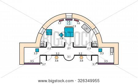 Architectural Plan Of The Orthodox Church Altar. Medieval Orthodox Monastery, Construction Design.