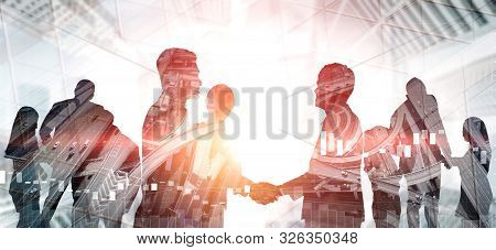 Double Exposure Image Of Many Business People.