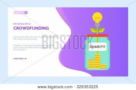 Crowdfunding Charity Project, Money Box Full Of Coins, Plant Symbol Of Wellness. Vector Donations, S