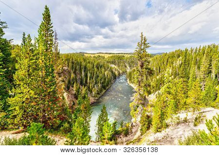 Yellowstone River Flowing Northward Through Yellowstone National Park, Feeding And Draining Yellowst