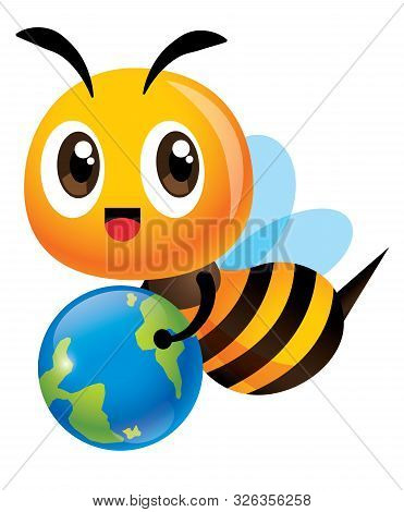 Save The Bee And Earth. Cartoon Cute Bee Carrying A Little Earth To Educate Human To Protect The Gre