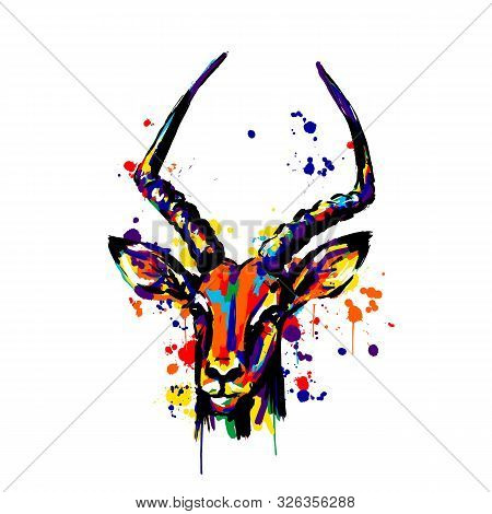Antelope, Different Color Paint Spray Brushstrokes, Antelope Head Face