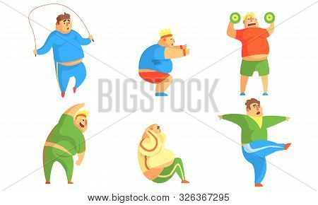 Funny Fat Men Exercising In The Gym Set, Chubby Male Characters Doing Workout Vector Illustration