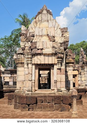 Prasat Sdok Kok Thom The Historical Park In Thailand With Shiva Lingam Pole, Is An Ancient Khmer Hin
