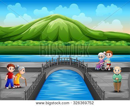 Cartoon Grandchild And Elderlies Refreshing At Nature