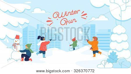 Winter Holidays Fun, Outdoor Activity, Kinds Snow Entertainments Flat Vector Concept. Happy Children