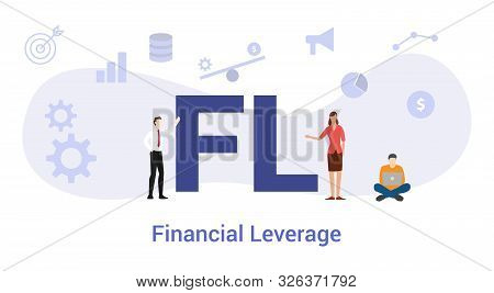 Fl Financial Leverage Concept With Big Word Or Text And Team People With Modern Flat Style - Vector