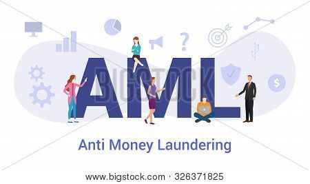 Aml Anti Money Laundering Concept With Big Word Or Text And Team People With Modern Flat Style - Vec