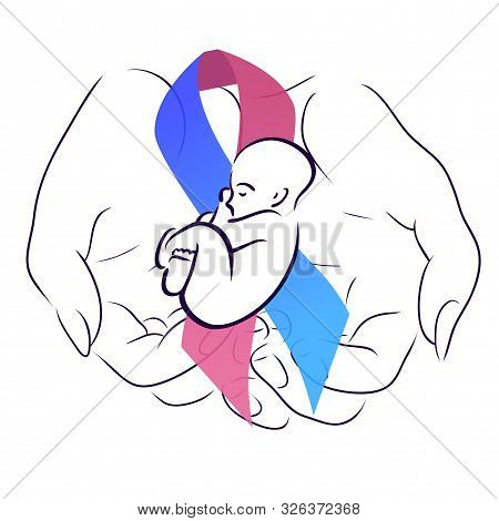 International Day Of Premature Babies. Woman Hand With Festive Ribbon With A Baby. Motherhood And Ca