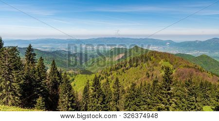 Whole Lucanska Mala Fatra And Part Of Krivanska Mala Fatra Mountains With Turiec River Valley Bellow