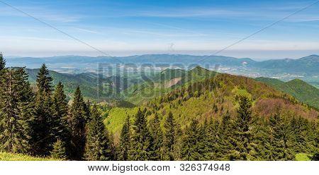 Whole Lucanska Mala Fatra And Part Of Krivanska Mala Fatra Mountains With Turiec River Valley Bellow