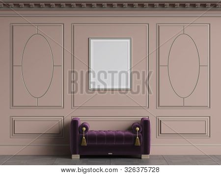 Classic interior walls with copy space.Pink walls with decorative ellipses in mouldings. Ornated cornice.Classic bench ottoman. Empty picture frame on the wall.Digital Illustration.3d rendering poster
