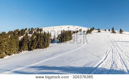 Veterne Hill On Martinske Hole In Lucanska Mala Fatra Mountains In Slovakia During Winter Morning Wi