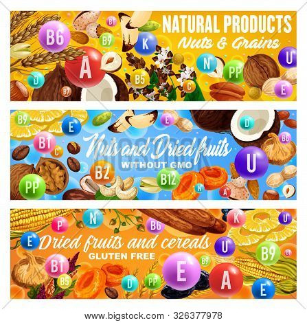 Vitamins In Nuts, Dried Fruits, Grains And Cereals. Vector Raisins, Almond And Dates, Peanut, Pineap