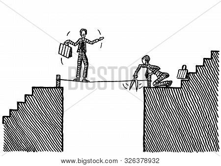 Freehand Pen Drawing Of Business Man Intent On Cutting The Rope On Which A Competitor Is Balancing A