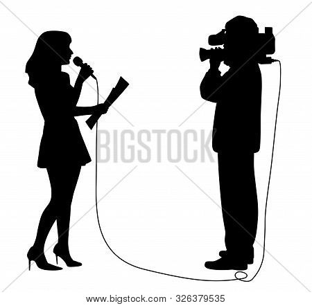 Journalist News Reporter Anchor Woman With Microphone And Cameraman Making Reportage. Speaker Newsca