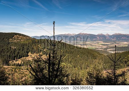 Amazing Panorama Of Zapadne Tatry Mountains Between Sivy Vrch And Bystra Peaks From Forest Glade Bel