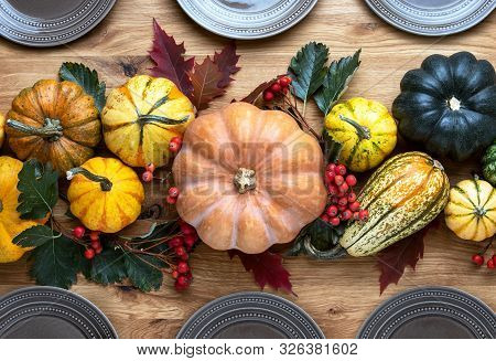 Thanksgiving Country Style Table Setting Natural Decoration Idea, Overhead View On Wooden Table Deco