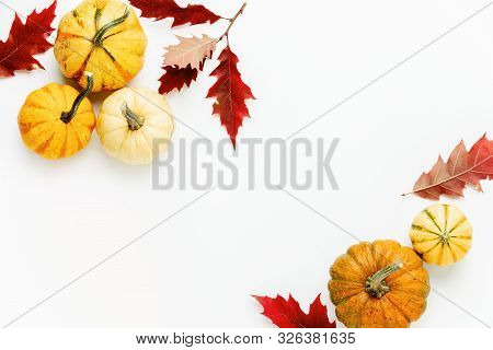 Autumn Holidays Background With Copy Space For A Greeting Text, Greeting Card Or Leaflet Template Wi