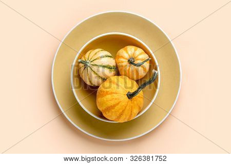 Autumn Pumpkin Decorative Table Setting, Home Decor Concept, View From Above