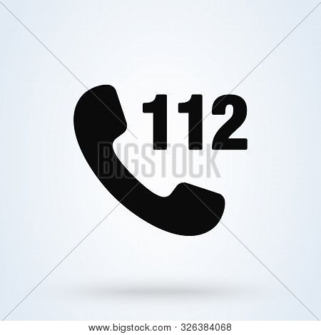 Emergency 112 Call, Simple Vector Modern Icon Design Illustration.