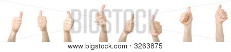 Different Hands With Thumbs Up