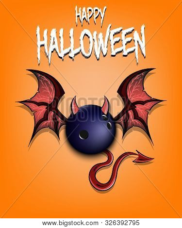 Happy Halloween. Devil Bowling Ball. Bowling Ball With Horns, Wings And Devil Tail. Design Pattern F