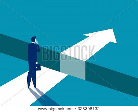 Businessman And Gap On Way To Success, Concept Business Solving Problem Vector Illustration, Flat Bu