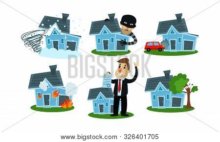 Different Kinds Of Misfortune With Property And Insurance Cases Vector Illustrations Set