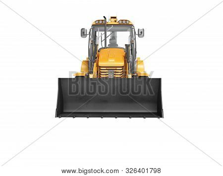 Concept Excavator Loader Wheel Front View 3d Render On White Background No Shadow